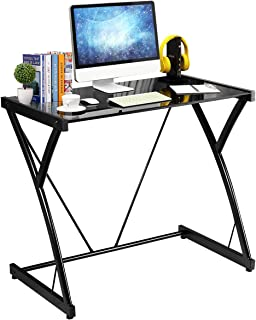 TANGKULA Computer Desk Writing Table Simple Home Office Computer Workstation with Tempered Glass Top & Iron Frame Student Writing Desk Home Furniture (Black Small Size)