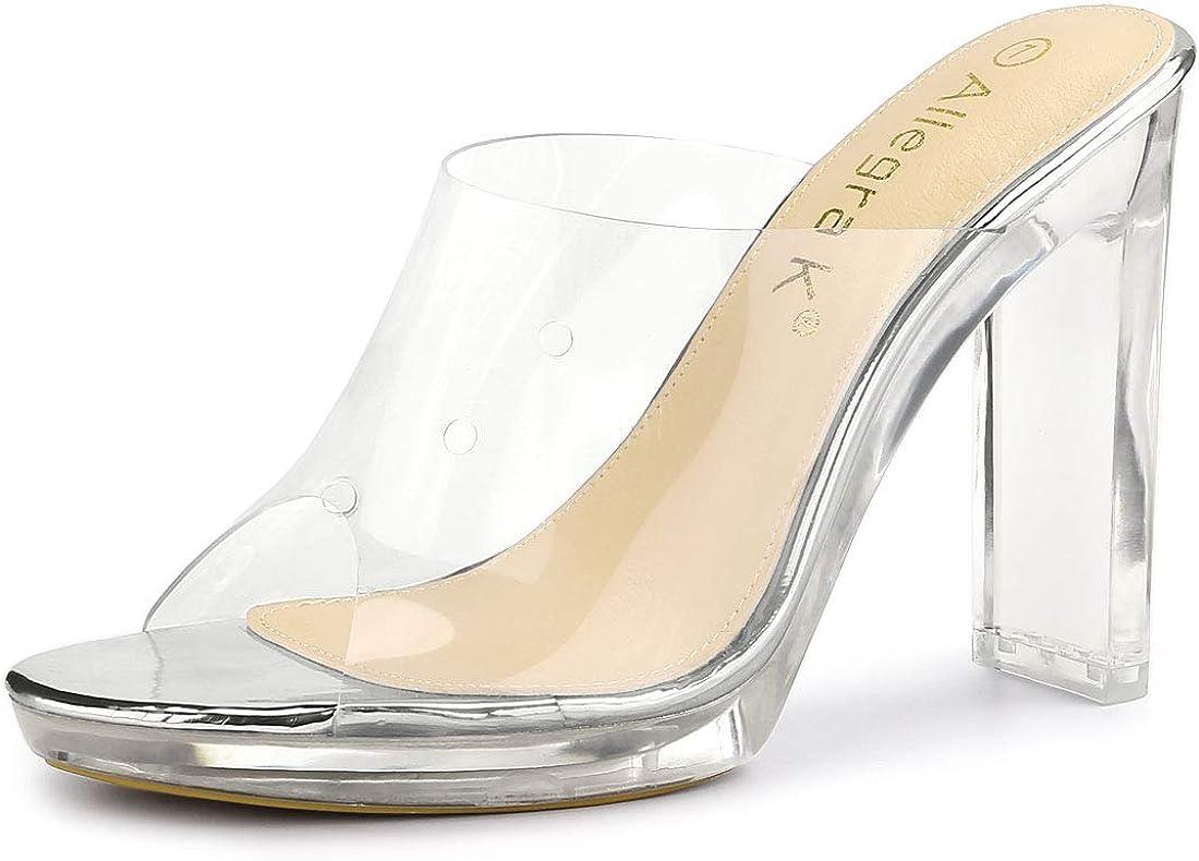 Allegra K Women's Clear Platform Block Heeled Slides Sandals
