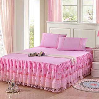 YURASIKU Princess Lace Bed Skirt Polyester Mattress Cover Romantic Bed Cover for Girls Women Twin Queen King Size Bed