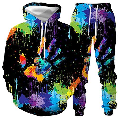 DREAMING-Otoño e invierno Pullover traje deportivo 3D palm graffiti suéter para hombres y mujeres con capucha Top de manga larga + pantalón traje casual 3XL