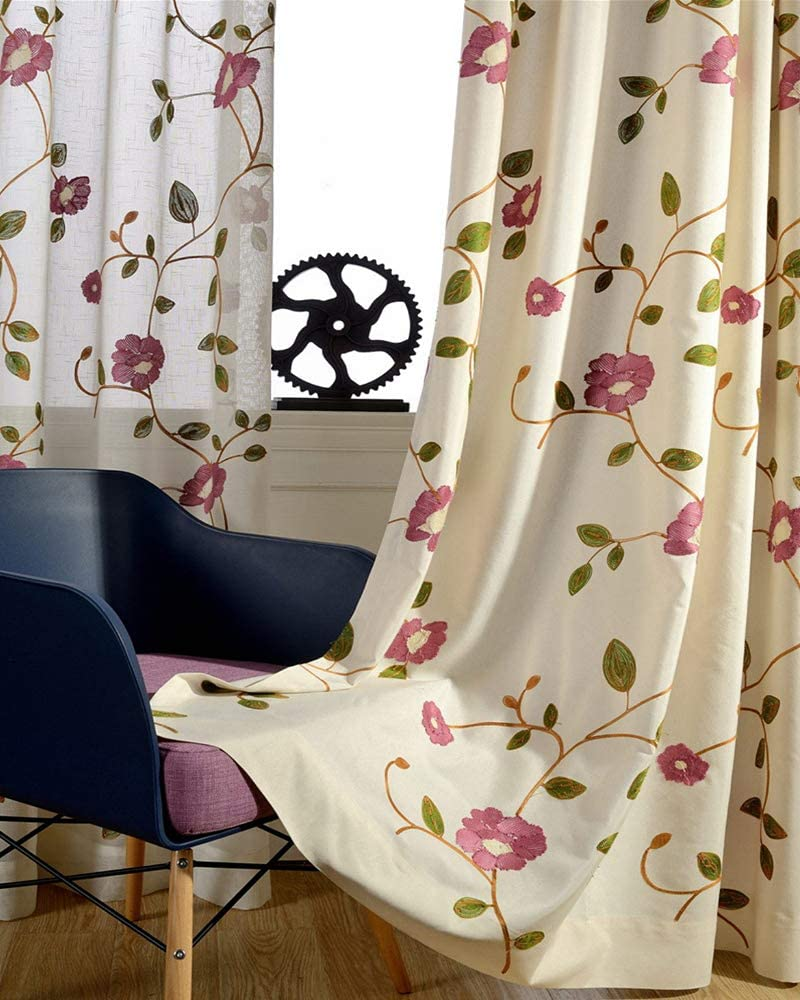 AliFish Embroidered Floral Cotton Arlington Mall Curtains 84 Large-scale sale Therma Inches Long