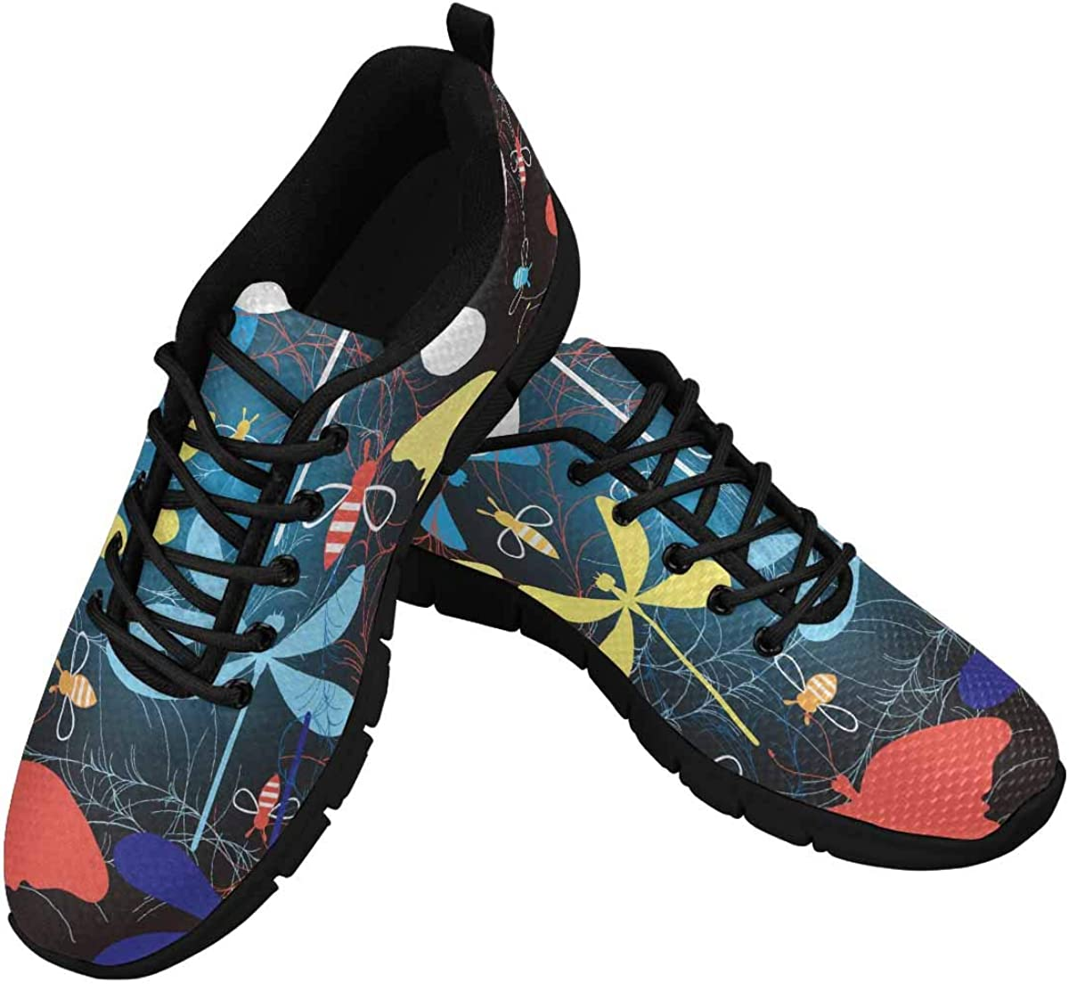 INTERESTPRINT Beautiful Dragonfly and Honeybee Women's Lightweight Athletic Casual Gym Sneakers