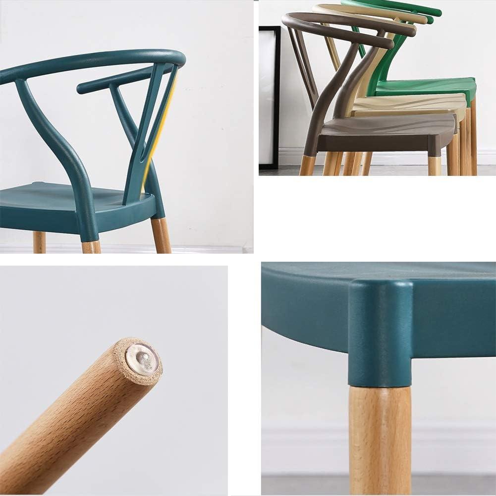 WANG Chaise de Bureau Chaise, avec accoudoirs, Dossier Creux, Chaise en Bois Massif, Jambes ergonomiques, Courbe, Balcon, Fauteuil Lounge, 7 Couleurs (Color : Green) Beige