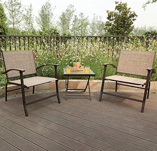 PHI VILLA 3-Piece Oversize Outdoor Sling Conversation Set- Patio Folding Coffee Set