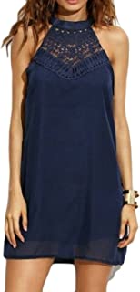 Womens Halter Neck Chiffon Tunic Tank Dress T Shirt Dresses