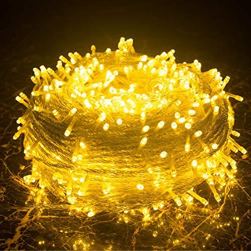 MOVEONSTEP 200 LED 22M Guirnaldas Luminosas de Exterior, Guirnalda Luces LED, IP44 Luces Guirnalda Impermeable DC 31 V Blanco Cálido Luces de Hadas 8 Modos para Navidad Fiesta Jardín Boda