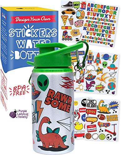 Purple Ladybug Trinkflasche für Jungen zum Selbstgestalten - Trinkflasche Kinder mit Lustigen Aufklebern - BPA-freie 560 ml Wasserflasche - Tolles Mitgebsel Kindergeburtstag & Bastelset Kinder