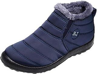 Dames Korte Slipper Laarzen Casual Waterdichte Enkel Booties Winter Slip op Sneeuw Schoenen Platte Schoenen met Warm Faux ...