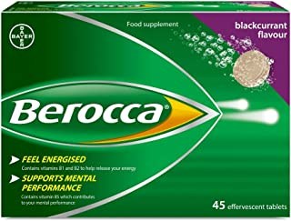 Berocca 発泡性ビタミン、エネルギー増強 Energy Vitamin 45 Tablets Blackcurrant Flavour, High Dose of Vitamin B Complex,