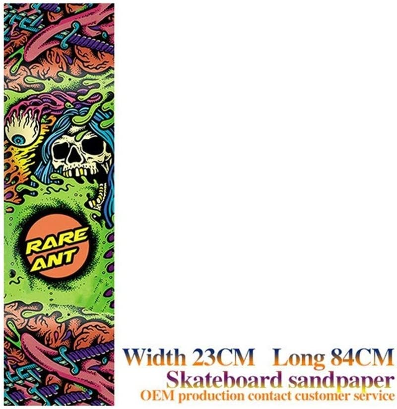 mrjg Skateboard Grip 33 * 9 Pulgadas Cubierta del monopatín de Lija de balancín Doble Papel de Lija Patín Etiqueta Papel de Lija eléctrica Monopatín Lijas Longboard (Color : Green Skeleton)