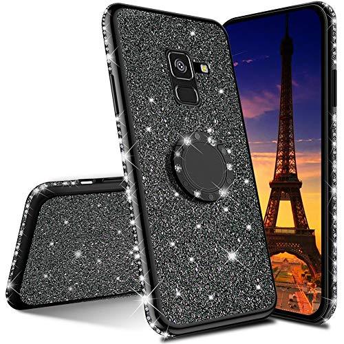 QIWEIQING Compatibile con Cover per Samsung Galaxy J4 Plus / J4 Prime Custodia Protettiva Ultra Sottile con Glitter Custodia Protettiva in Rotante Custodia per Samsung J4 Plus Black KDL