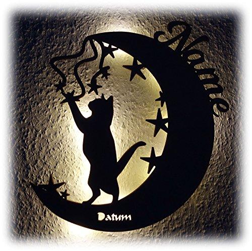 Mond Katzen Geschenk I Ein Lustiges Haustier Design Deko Schild mit LED Personalisiert für Kinder und Katzen-Freunde Katzenliebhaber zum Geburtstag Weihnachten
