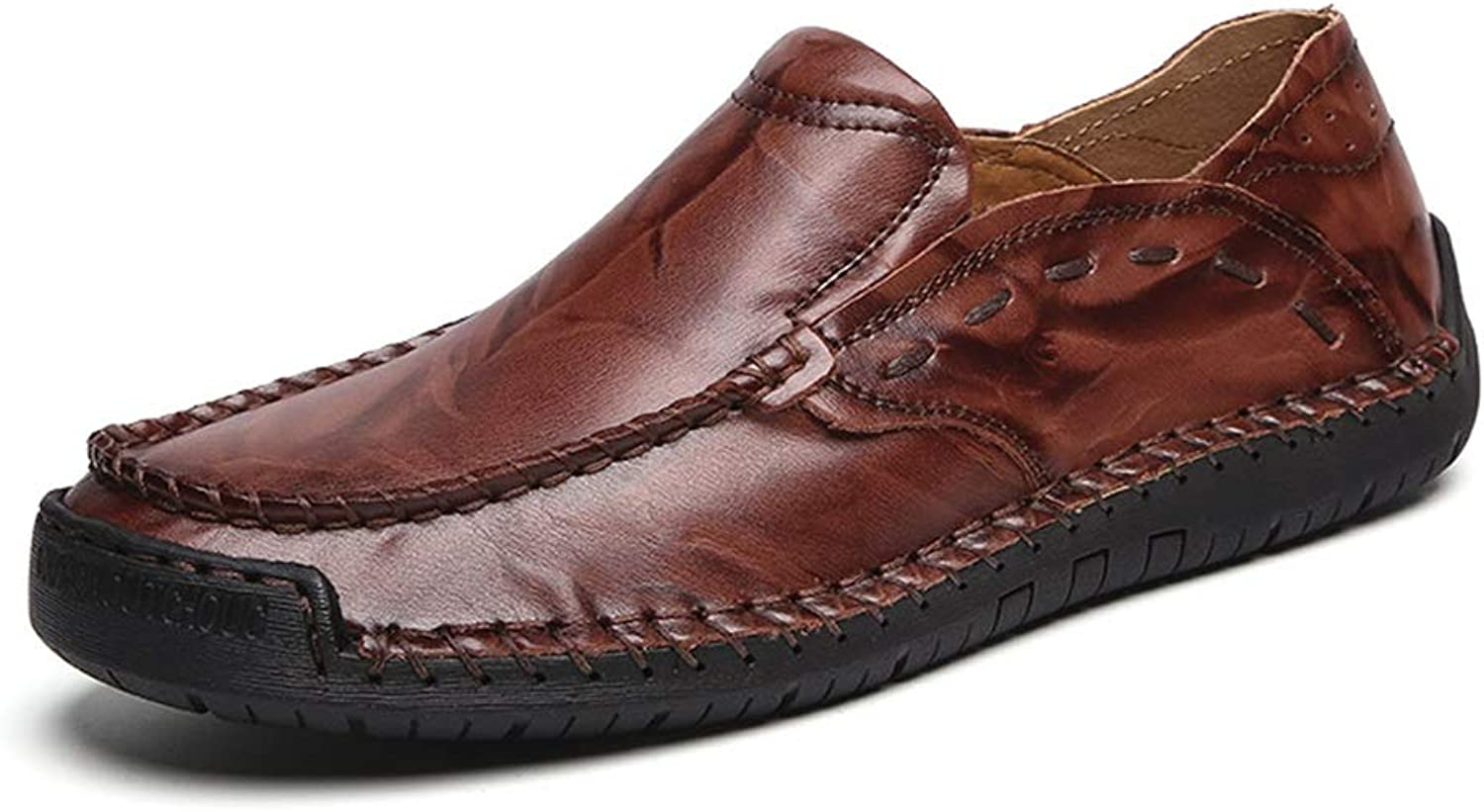 Easy Go Shopping Business Casual PU Leather shoes For Men Comfortable Breathable Anti-slip Flat Loafers Lined Slip-on Cricket shoes (color   Reddish brown, Size   10.5 UK)
