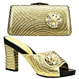 Italian Women Shoes and Bag Set Decorated with Rhinestone Black Color Women Shoes and Bag Set for Party Nigerian Wedding Shoes (7.5,Gold)