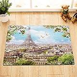 /N Badezimmer-wasserdichter Polyester-Eiffelturm-Stadt-Ansicht-Tauben-Duschvorhang