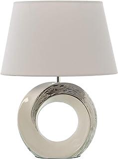 DRW Lámpara de Sobremesa de Cerámica con Pantalla en Blanco y Plata 32x20x42cm