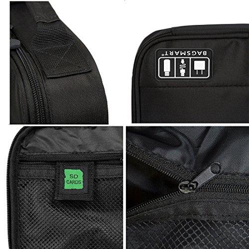 『(バッグスマート)BAGSMART PC周辺小物用収納ポーチ ベルクロ式仕切り iPad Mini2収納可 ブラック』の5枚目の画像