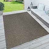 Paco Home In- & Outdoor Teppich, Terrasse u. Balkon, Wetterfest Einfarbig m. Struktur,...