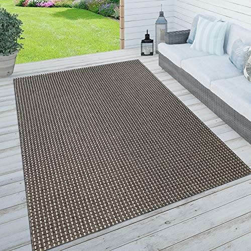 Paco Home In- & Outdoor Teppich, Terrasse u. Balkon, Wetterfest Einfarbig m. Struktur, Grösse:160x230 cm, Farbe:Anthrazit