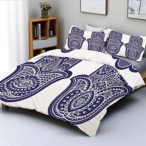 Set copripiumino, due figure di Fatima con ornamenti etnici vecchio stile vintage asiatico Set di biancheria da letto decorativo 3 pezzi con 2 fodere per cuscini, viola blu bianco, miglior regalo per