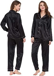 Ladieshow Women Satin Pajamas,2-Piece Long Sleeve Sleepwear Ladies Soft Pj Set Button Down Nightwear Loungewear S~XL