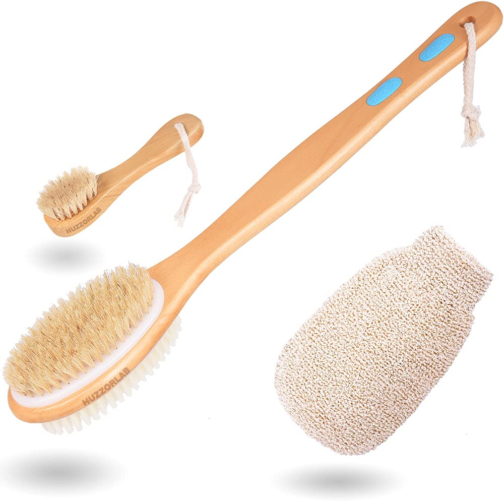 HUZZORLAB Body Brush Set for Quantity limited Wet New mail order or Brushing Handle - Dry B Long