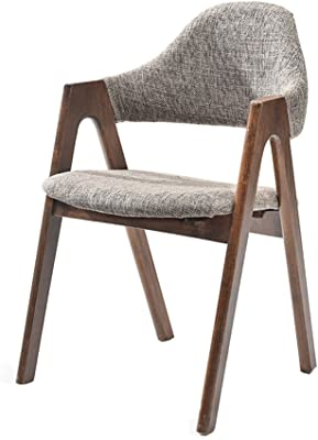 Qwer Silla Taburete Pasamanos Respaldo Madera Originalidad Ocio (Color : Light Grey)