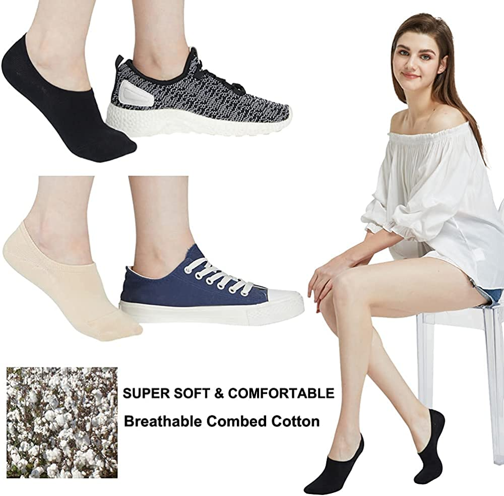 Low Cut No Show Socks Women Invisible for Flats and Dress Shoes Liner Socks with Non-Slip Heel Grips