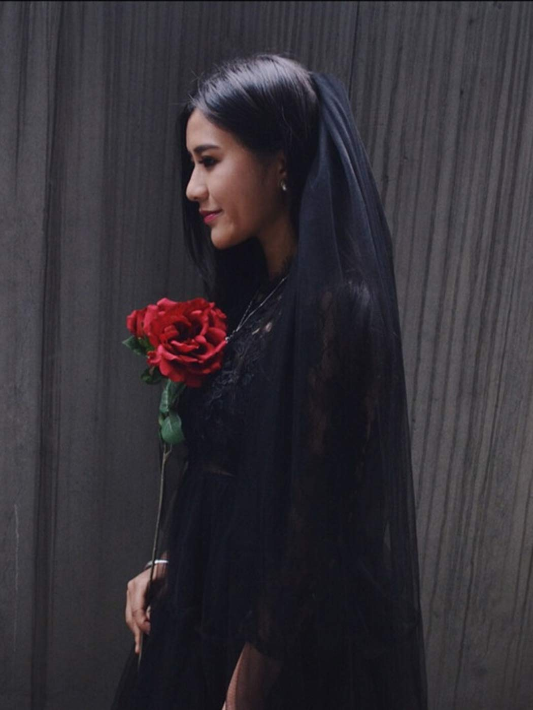 Clairy Bride Wedding Veil 2 Tier Bride Veils Bridal Tulle Headpieces Long Hair Jewelry Veils with Comb (Black)