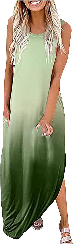 GOODTRADE8 Dresses Maxi Dress Summer Dress Sundress Women Casual Print Dress O-Neck Sleeveless Loose Long Dress