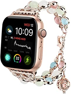 Cywulin Compatible for Apple Watch Bands 40mm 44mm 38mm 42mm iWatch Series 4 3 2 1, Night Luminous Pearl Bracelet Bangle Replacement with Oil/Perfume Storage Pendant Women Girls (38mm/40mm, Gold)