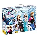 Lisciani Puzzle en Maleta de 60 piezas 2 en 1, Doble Cara con reverso para colorear - Disney Frozen La Reina de las nieves 73887