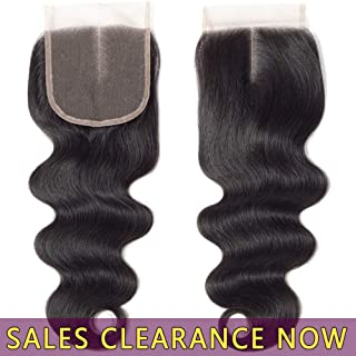 9A Brazilian Virgin Human Hair 4x4 Top Swiss Lace Closure Frontal Middle Part Best Peruvian Body Wave Natural Black Color Cheap Indian Malaysian Remy hair CanBe Bleached Knots One Piece 10 inch