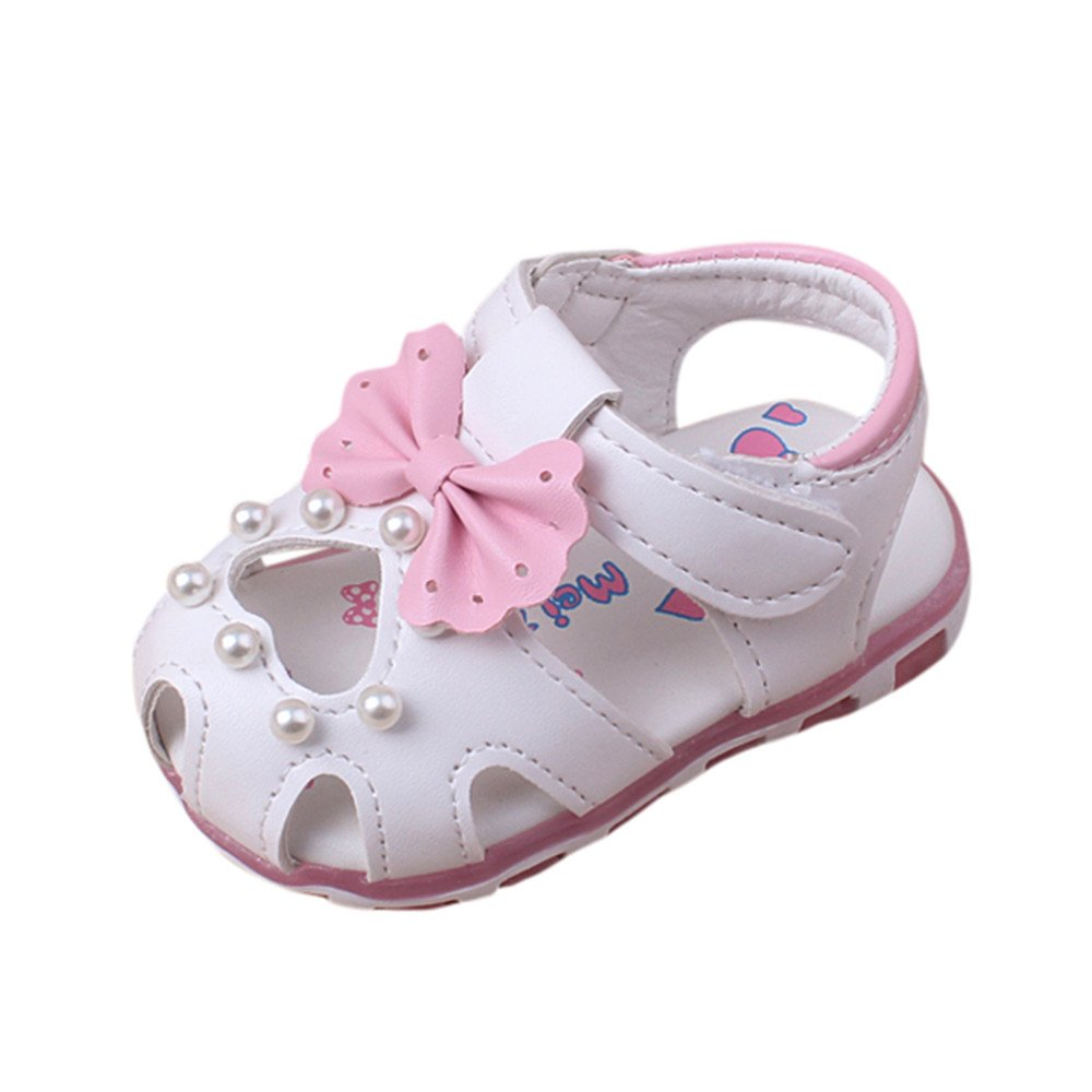 WEUIE Baby Girls Mary Jane Flats Burnish PU Leather Bowknot Princess Prewalker Christening Baptism Crib Shoes