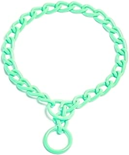 (20 in x 4 mm, Mint Green) - Platinum Pets Stainless Steel Chain Training Dog Collar