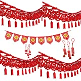 4 Pack Long Chinese New Year Garland Good Luck Garland Chinese Spring Felt String Garland & 1 Banner.