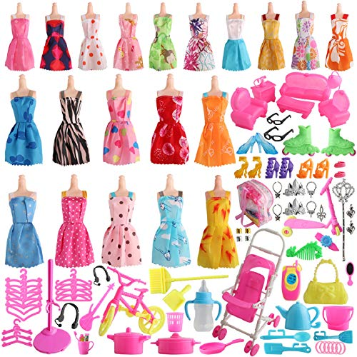 SOTOGO 125 Pieces Doll Clothes and Accessories for 115 Inch Girl Doll Include 20 Pieces Handmade Doll Grown Outfits Fashion Party Dresses 105 Pieces Household Doll Accessories and Storage Bag
