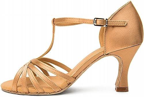 BYLE Sangle de Cheville Sandales en en Cuir Chaussures de Danse Modern'Jazz Samba Chaussures de Danse Latine avec des Femmes Adultes Chaussures de Danse en Satin Or 7,5CM Fond Mou  bonnes offres