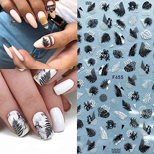 BLOUR 1 Uds Negro Blanco 3D Pegatina para decoración de uñas Hojas geometría Playa Estilo de Verano calcomanías para decoración de uñas Accesorios de diseño DIY