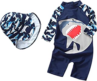 Baby Toddler Boy One Piece Swimsuit Set Shark Bathing Suit Swimwear with Hat for Kids Girls FBA
