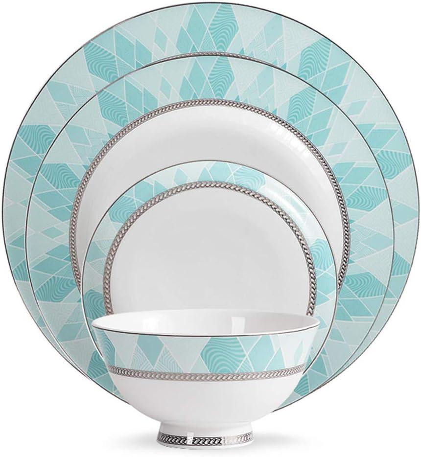 QUEMIN Blue-Green Dinnerware Set- Opening large release sale Modern Patterns Styl online shopping Geometric