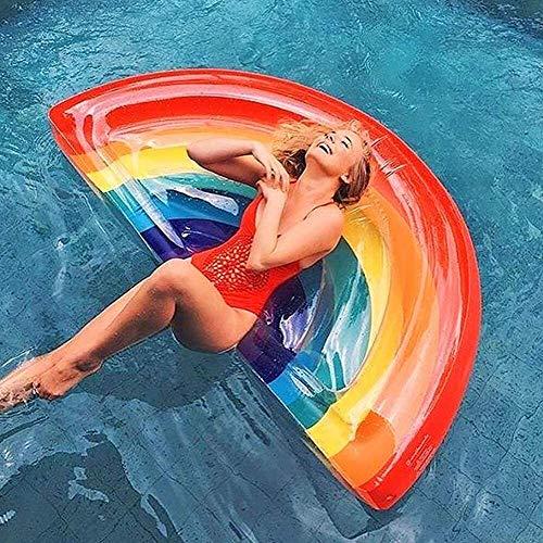VIWIV Colchón Inflable Piscina Fila Flotante Cama de Aire Inflable Arco Iris Flotante Drenaje Flotante Cama de Aire Transparente Colorido salón sillón Flotante y Cama Adulto Agua Ocio