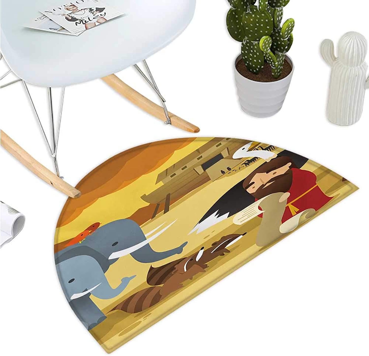Religious Semicircular Cushion Animals in The Ark Illustration with Mythical Elephant Ancient Cute Cartoon Print Entry Door Mat H 39.3  xD 59  Multicolor