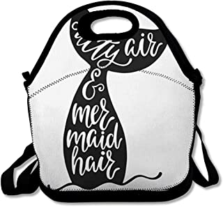 Lunch Bag for Women Men Salty Black Air Mermaid Hair Inspiration Quote Wildlife About Summer 39 Tail White Doodle Design Reusable Insulated Lunch Tote with Zipper