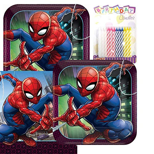 Lobyn Value Pack Spider Man Webbed Wonder Party Plates and Napkins Serves 16 With Birthday Candles