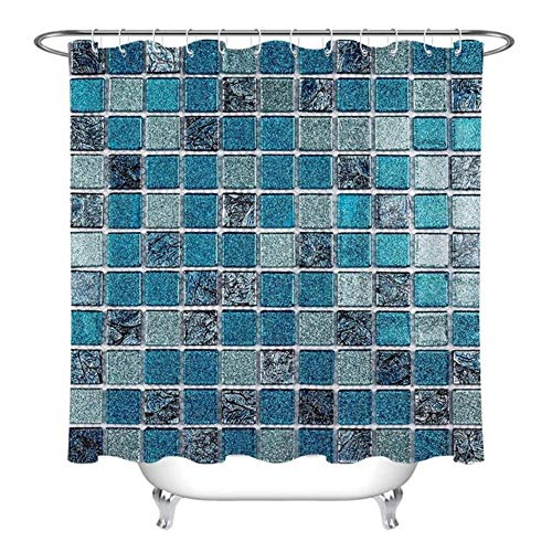 mino Mosaikmuster Duschvorhang Quadrat Geometrisch Wasserdicht Badezimmer Vorhang Stoff Braut Polyester Waschbar Wohnkultur, Nur Vorhang, 180x200cm-72x80inch