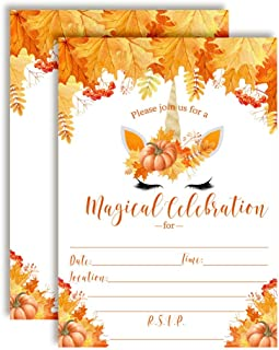 Pumpkin Unicorn Face with Watercolor Fall Leaves Autumn Birthday Party Invitations, 20 5