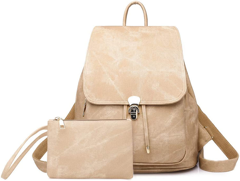 Ladies Fashion PU Leather Backpack Retro Shoulder Bags 3 Way College Rucksack Girls Satchel Travel School Bags (color   Khaki)