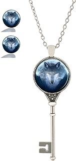 Custom Fashion Retro Key Pendant Necklace Stud Earring Jewelry Glass Necklace Set