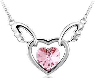 Infinite U Double Hearts Angel Wing Austrian Crystal Silver Plated Women Pendant Necklace